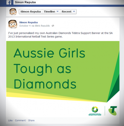 Telstra helps Diamonds fans instantly show their support at matches and on-line!